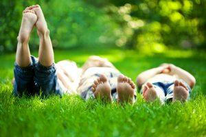 Kinderen in gras